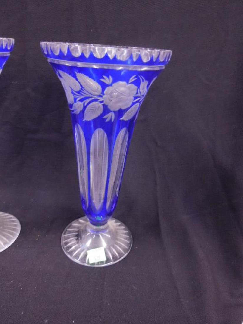 Bohemian Cut to Clear Glass Vases - 2