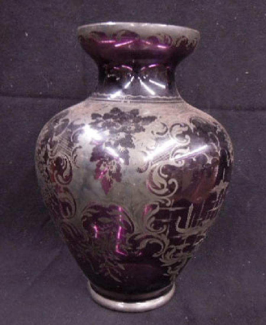 Italian Glass Silver Overlay Vase