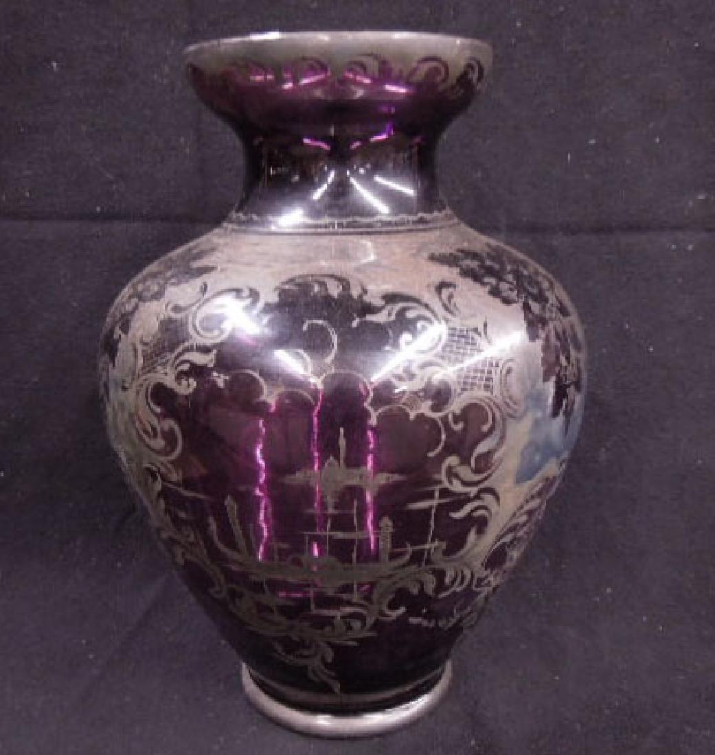 Italian Glass Silver Overlay Vase - 2