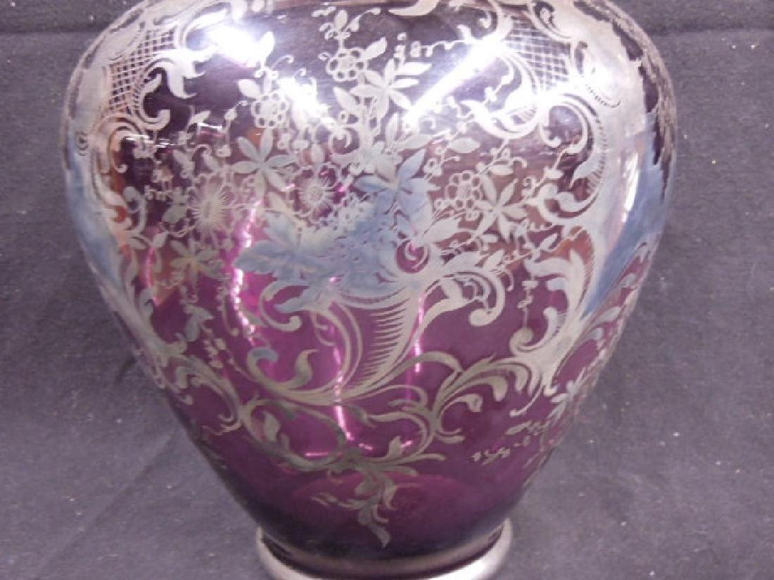 Italian Glass Silver Overlay Vase - 4