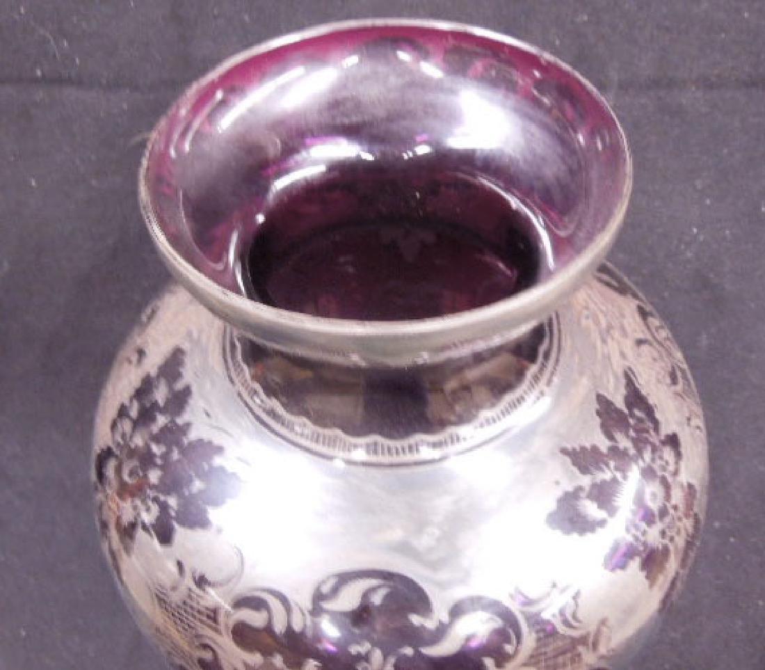 Italian Glass Silver Overlay Vase - 5