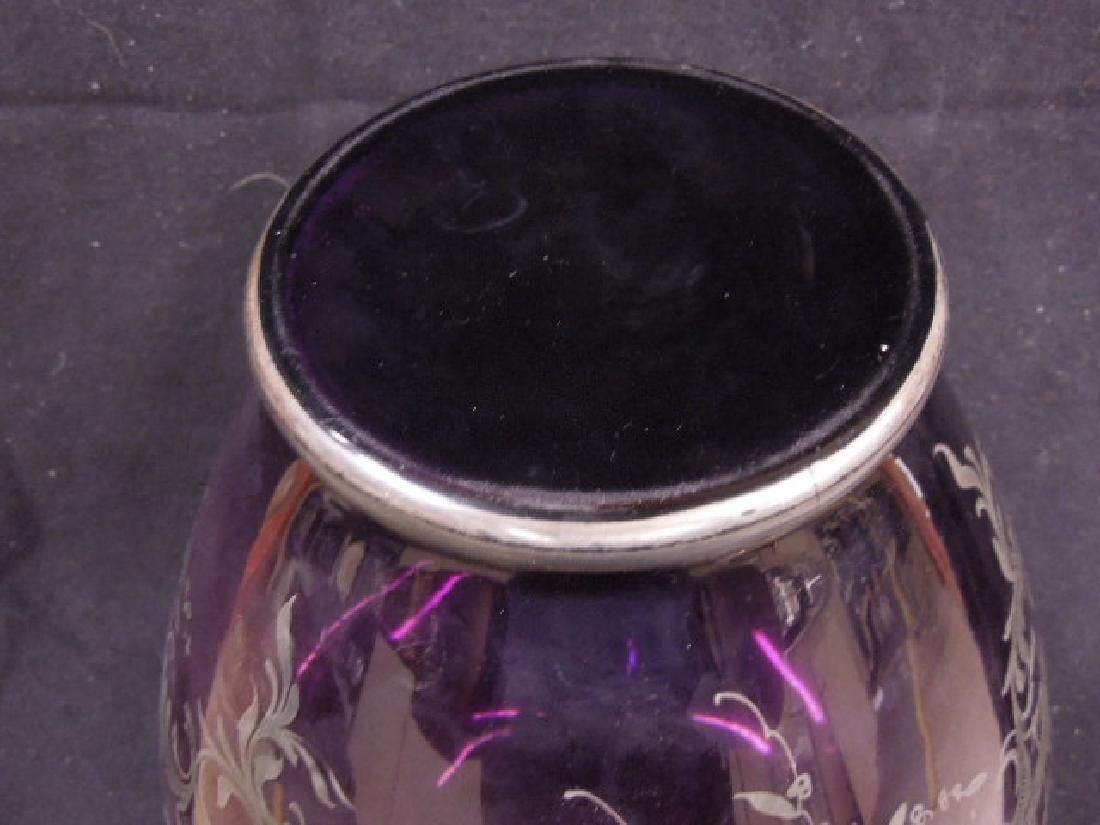 Italian Glass Silver Overlay Vase - 6