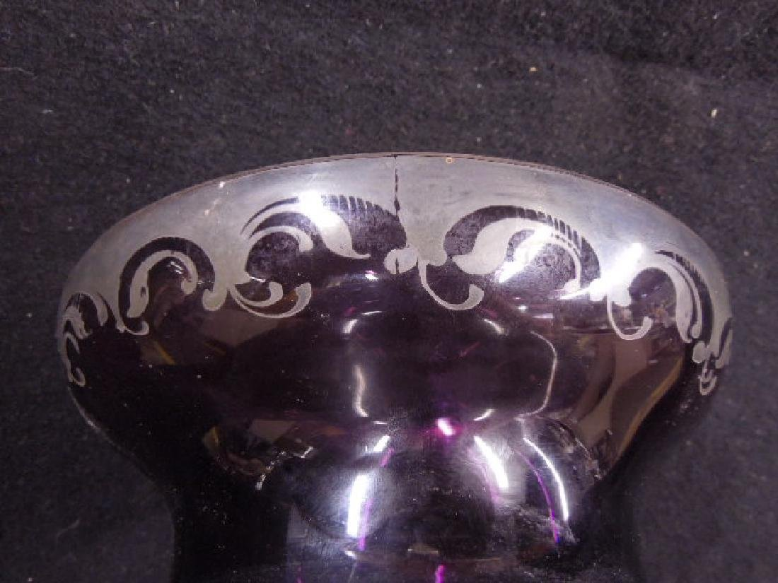 Italian Glass Silver Overlay Vase - 7