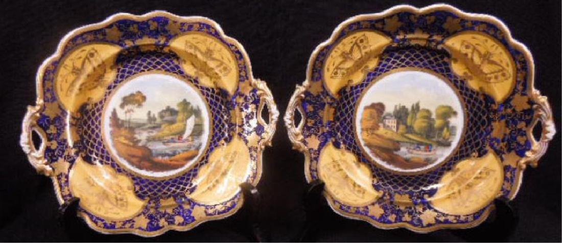 Pair 19th C. Worcester Porcelain Plates