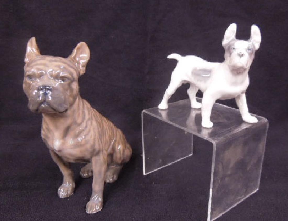 2 Royal Copenhagen Porcelain Bull Dogs