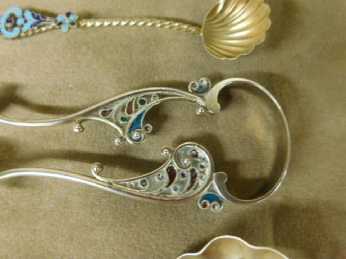 Sterling Enameled Spoons & Tongs - 2