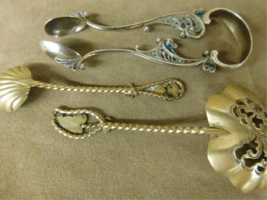 Sterling Enameled Spoons & Tongs - 4