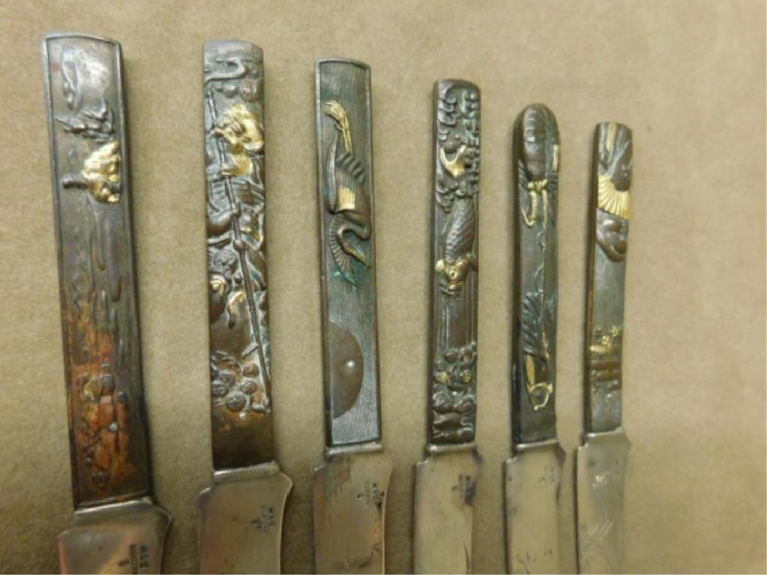 6 Gorham Sterling & Bronze Japanese Knives - 2