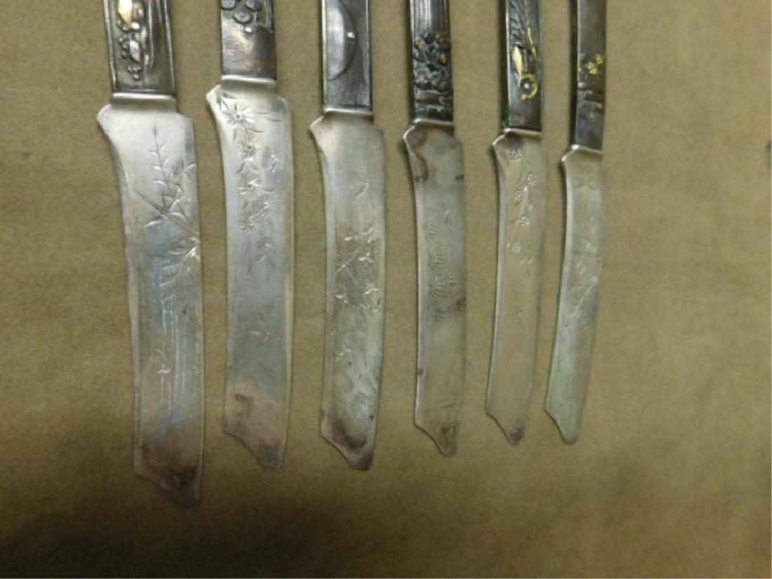 6 Gorham Sterling & Bronze Japanese Knives - 4
