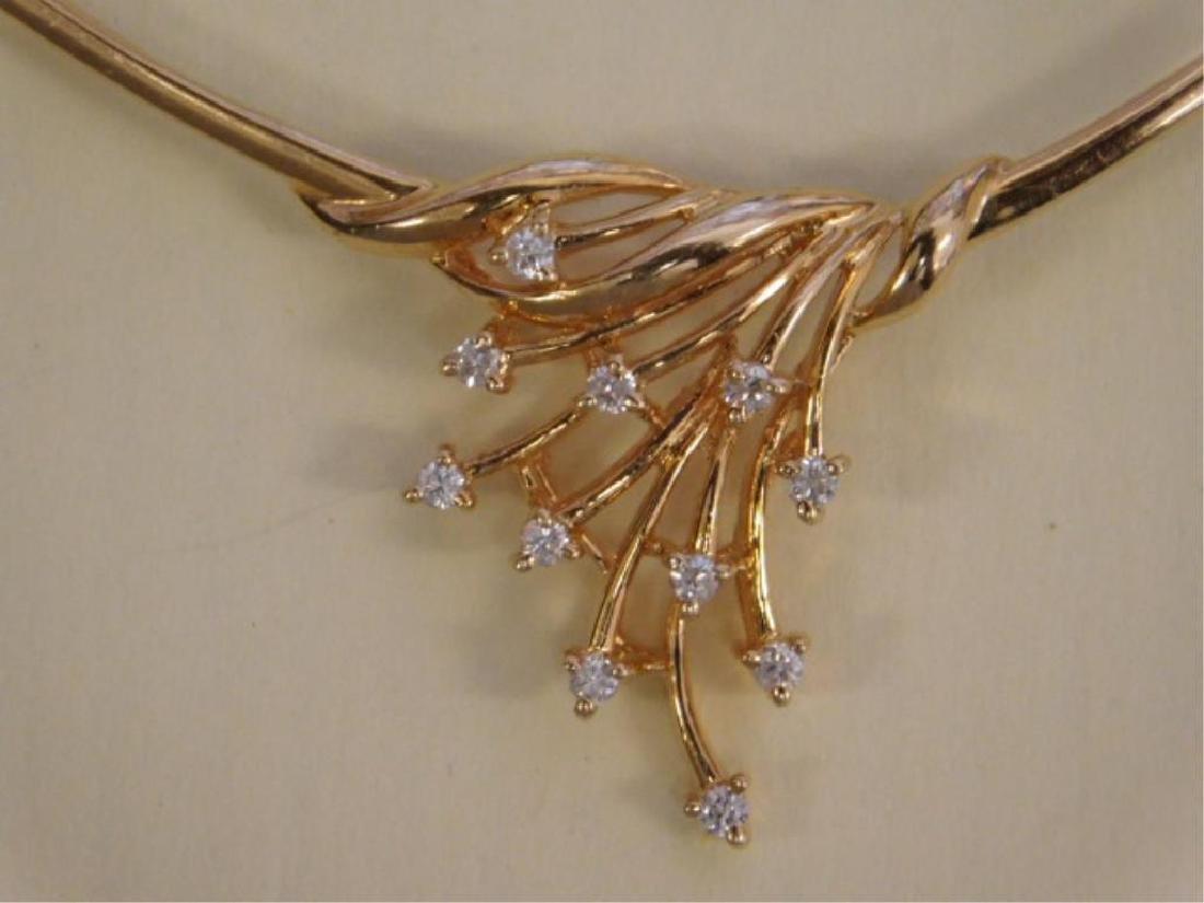 14k YG Necklace w/Diamond Festoon