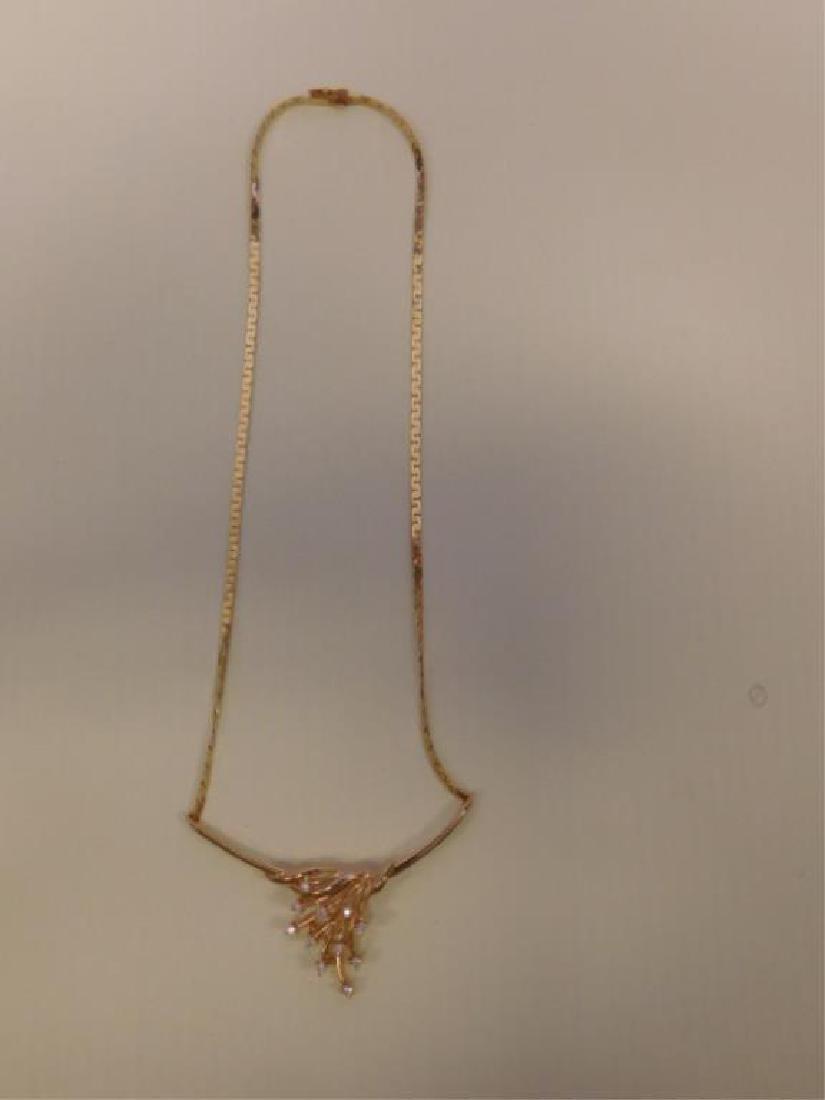 14k YG Necklace w/Diamond Festoon - 3