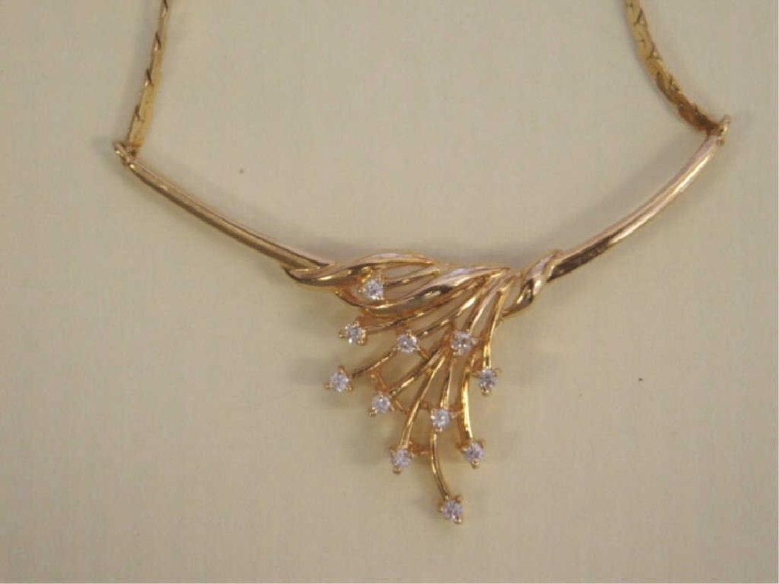 14k YG Necklace w/Diamond Festoon - 4