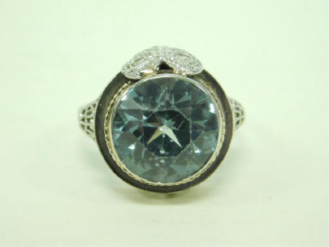 14K WG Deco Aquamarine Ring