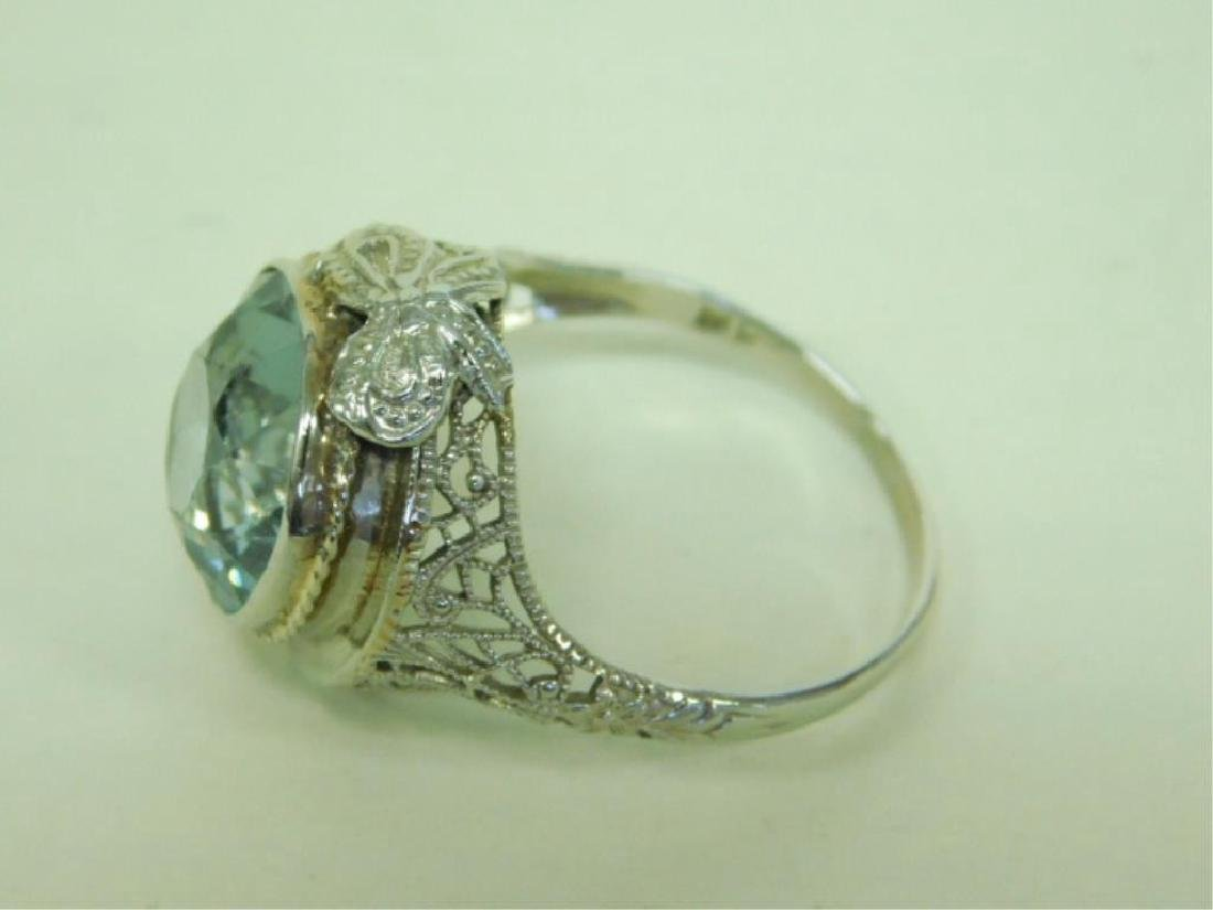 14K WG Deco Aquamarine Ring - 2