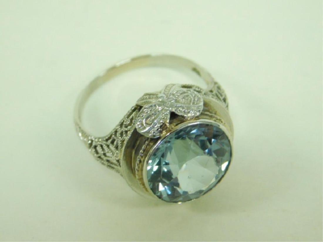 14K WG Deco Aquamarine Ring - 3