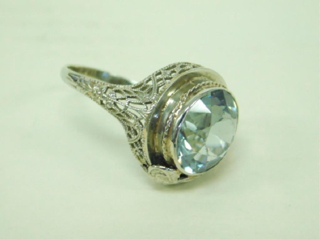 14K WG Deco Aquamarine Ring - 5