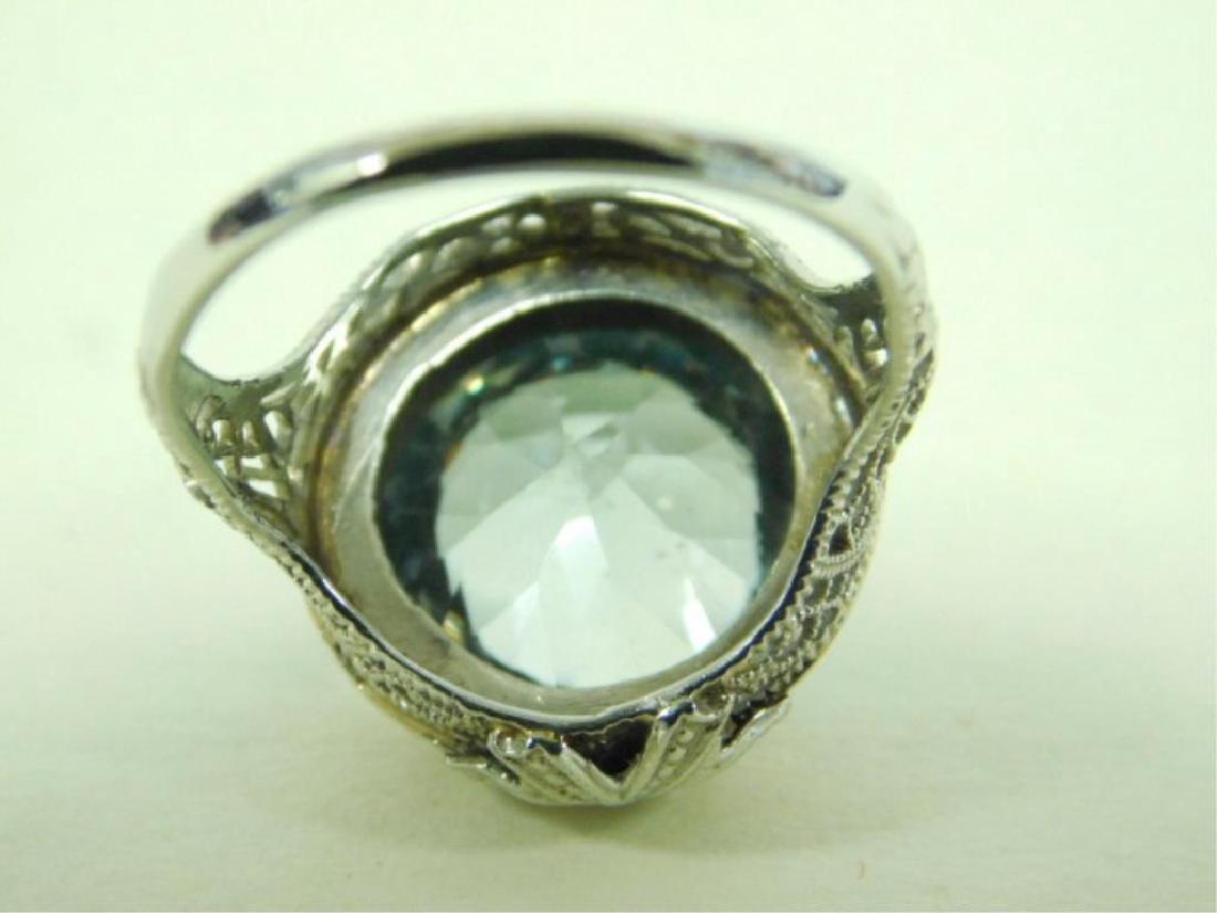 14K WG Deco Aquamarine Ring - 7