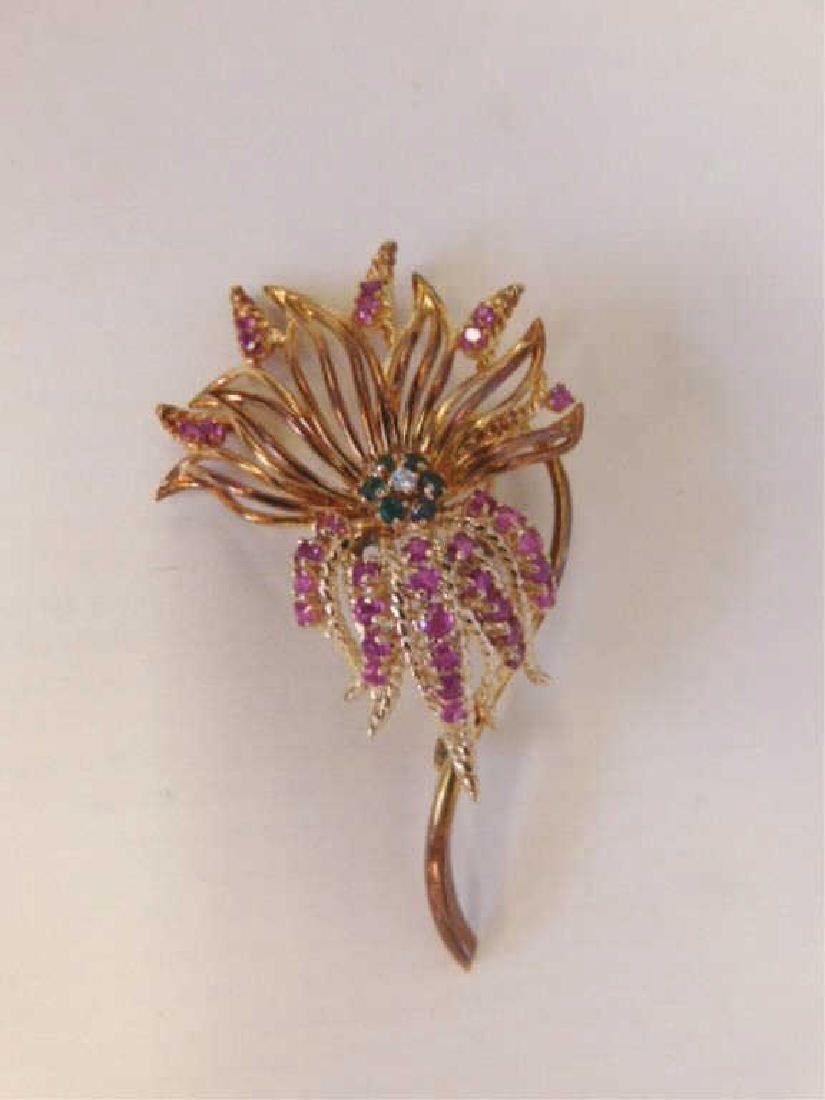 14k Floral, Diamond, Rubies & Emerald Pin