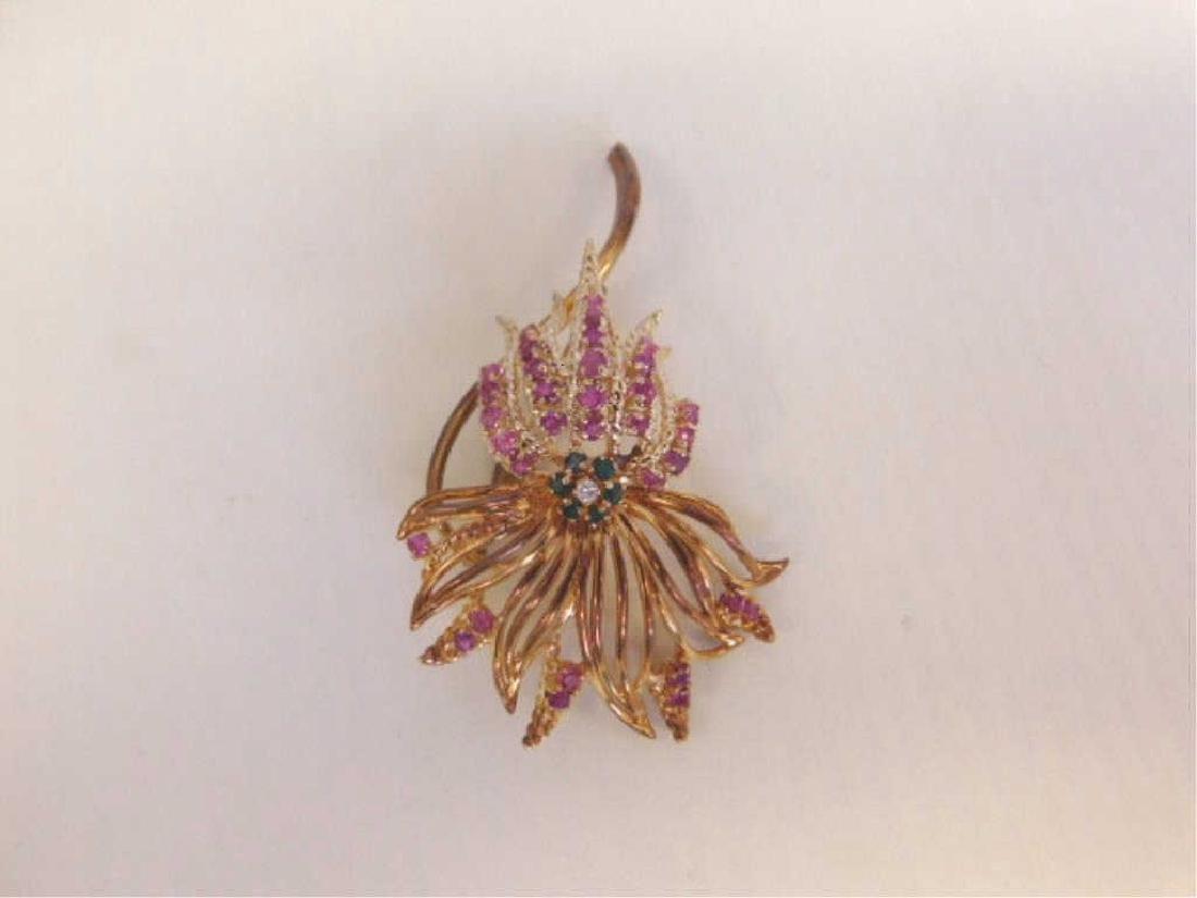 14k Floral, Diamond, Rubies & Emerald Pin - 2