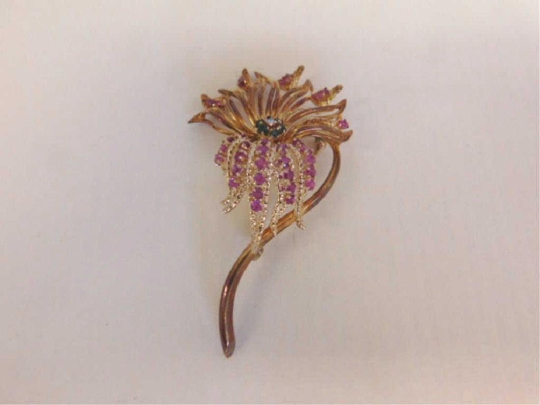14k Floral, Diamond, Rubies & Emerald Pin - 3