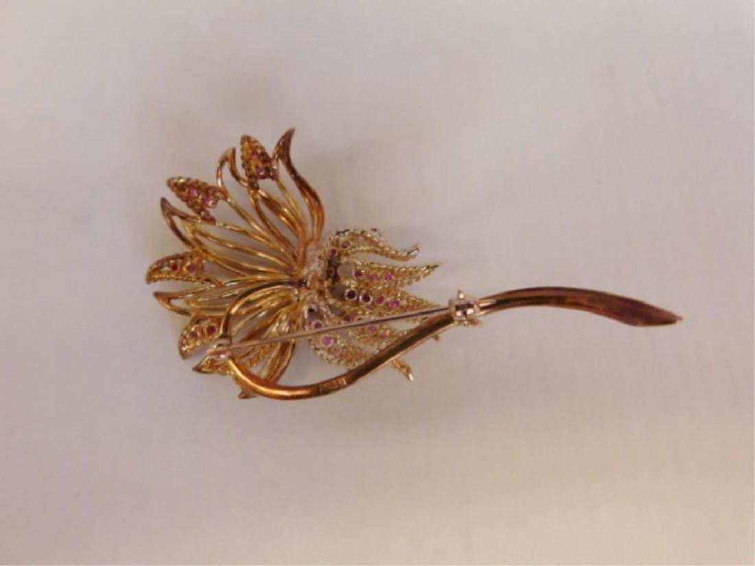 14k Floral, Diamond, Rubies & Emerald Pin - 4
