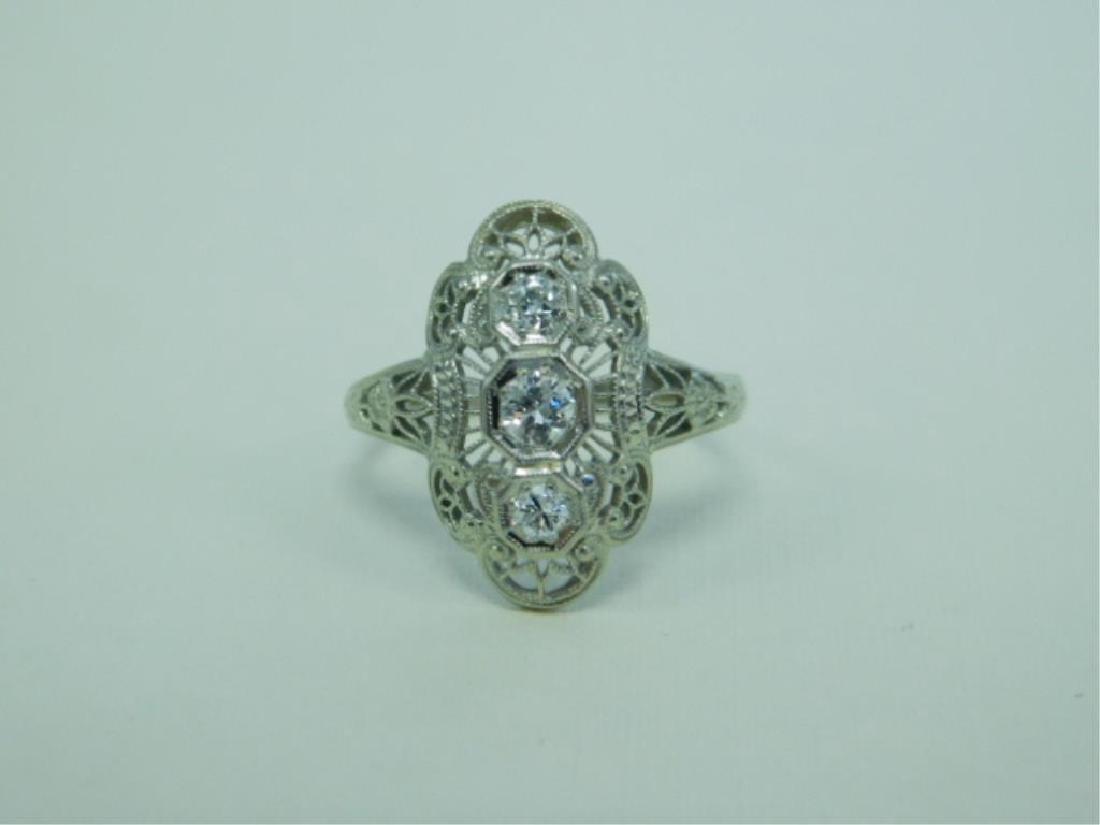18K WG Deco 3 Diamond Ring