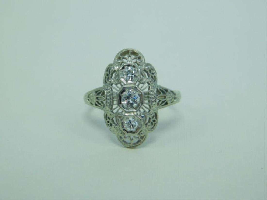 18K WG Deco 3 Diamond Ring