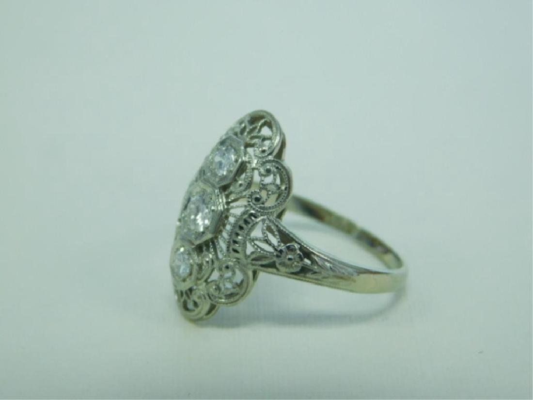 18K WG Deco 3 Diamond Ring - 2