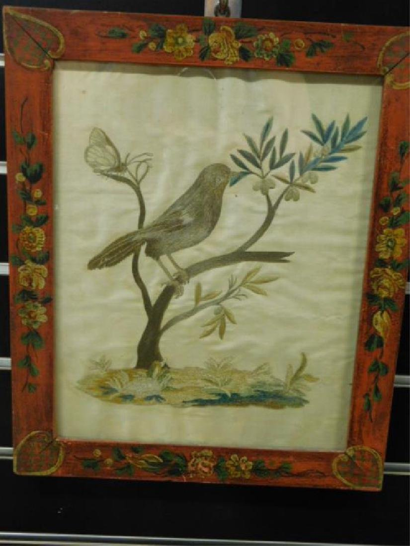 19th C. Framed Embroidery On Silk