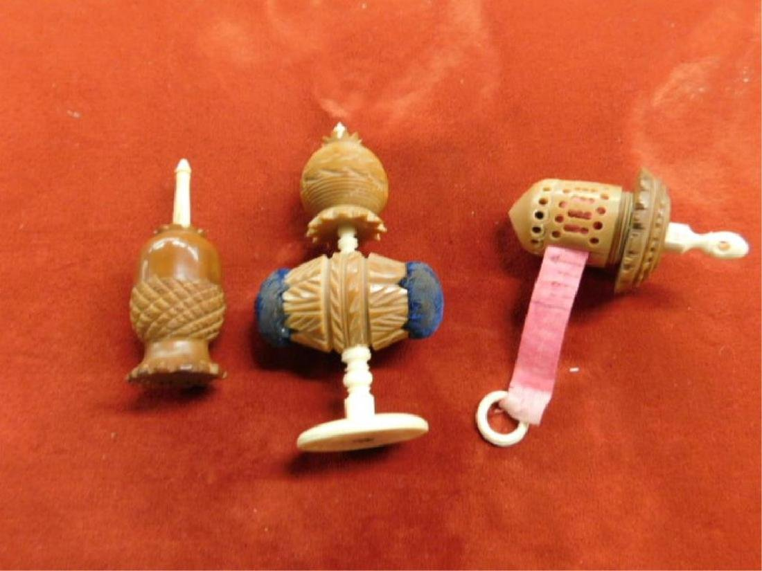 Carved Bone & Nut Sewing Accessories