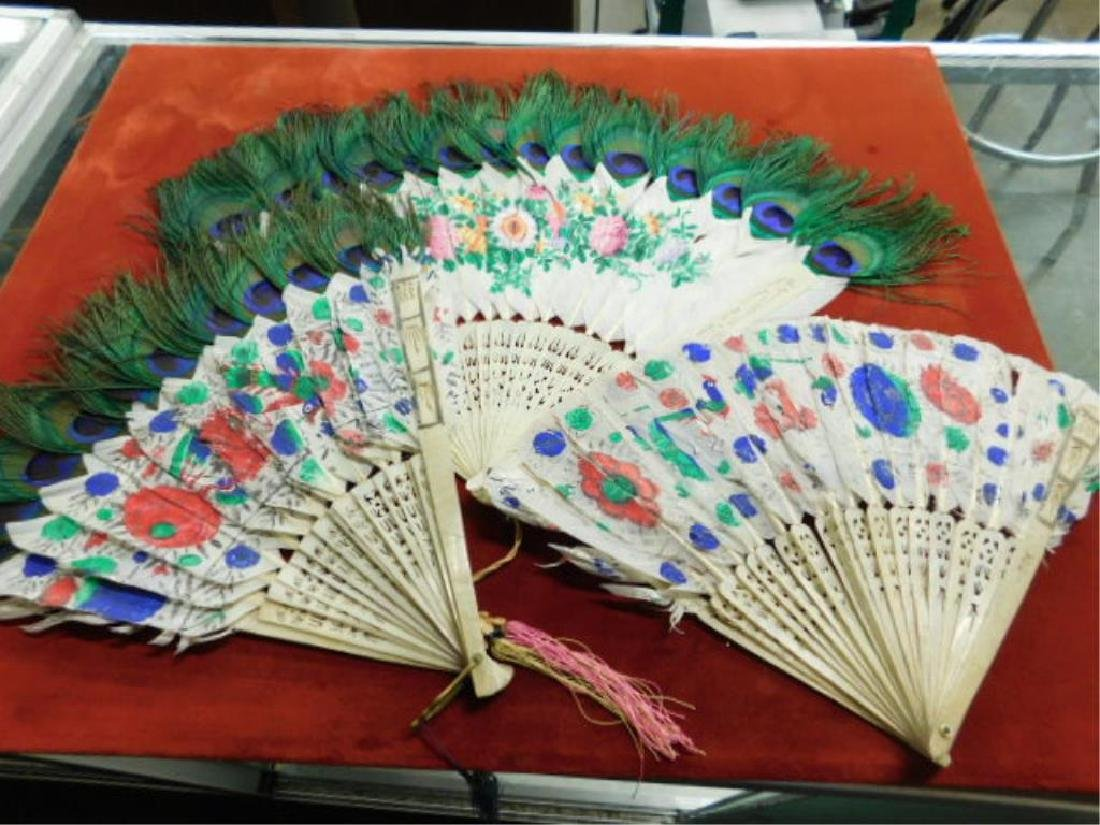 Chinese Peacock Feather Hand Fans