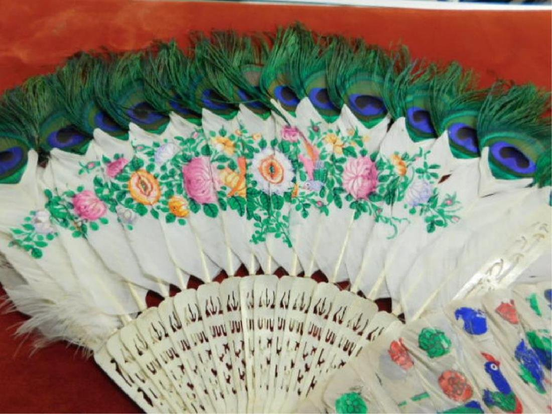 Chinese Peacock Feather Hand Fans - 4