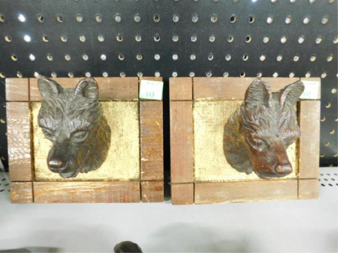 Carved Wood Wolf Head Plaques