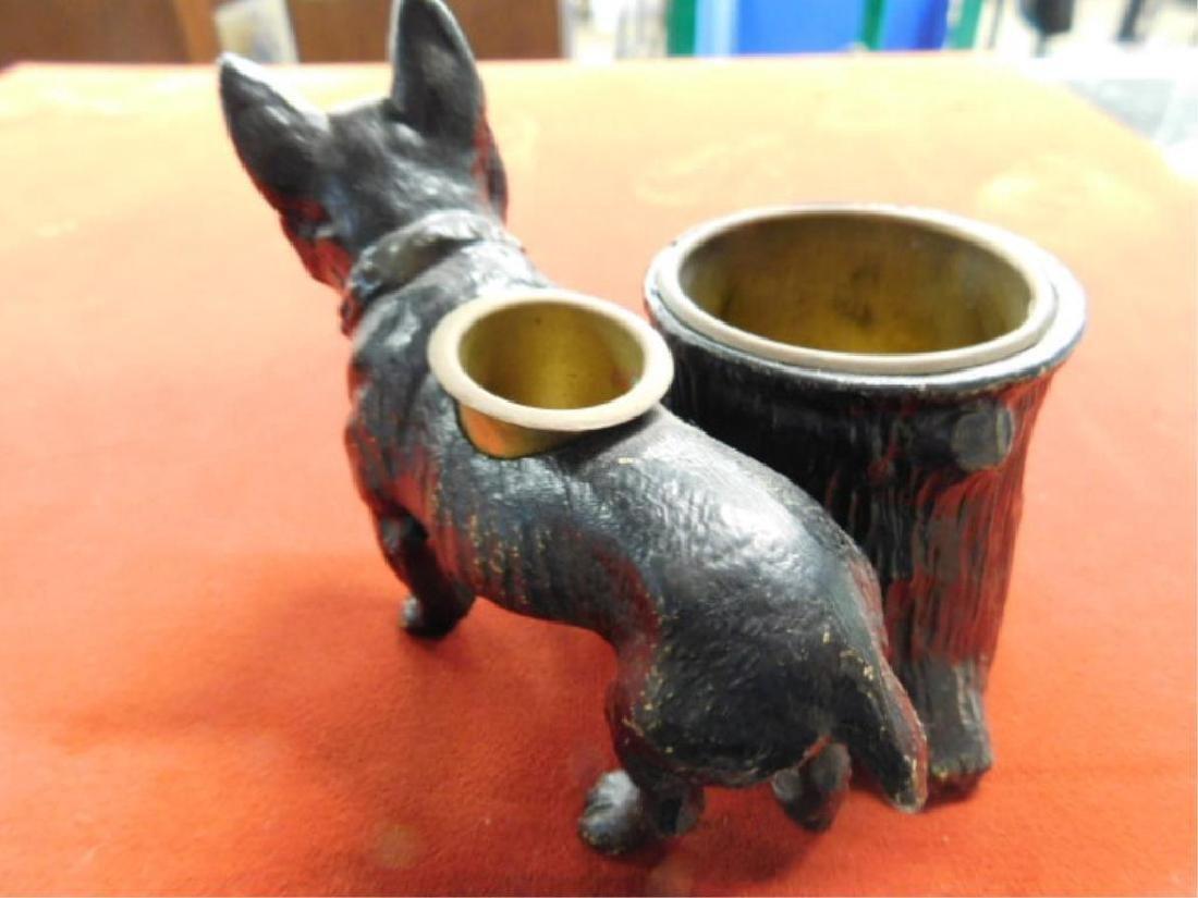 Painted Metal Bulldog Match Holder - 3