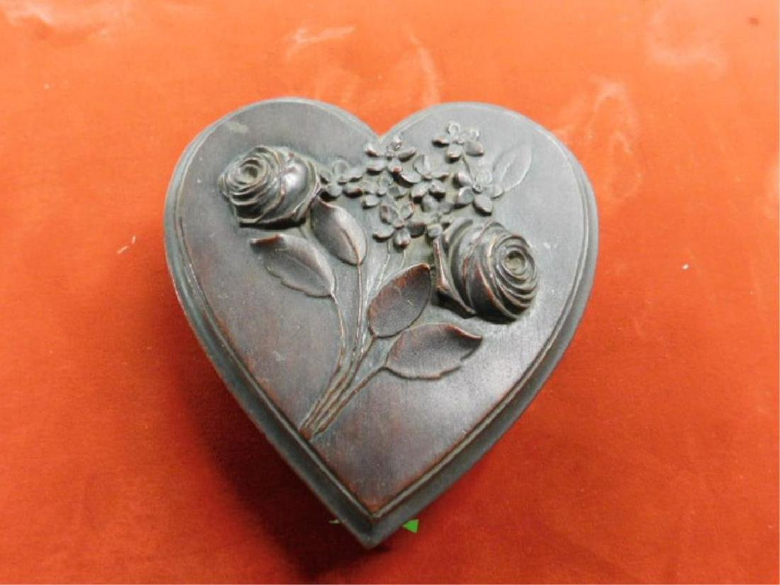 Victorian Walnut Heart Form Box