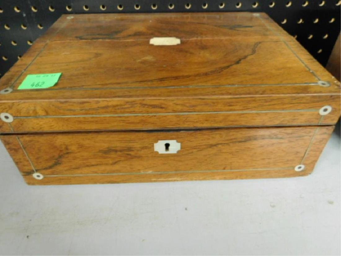 19th c. Rosewood Lap Desk Box - 2