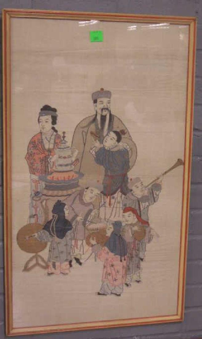 Chinese Silk Pictorial Panel