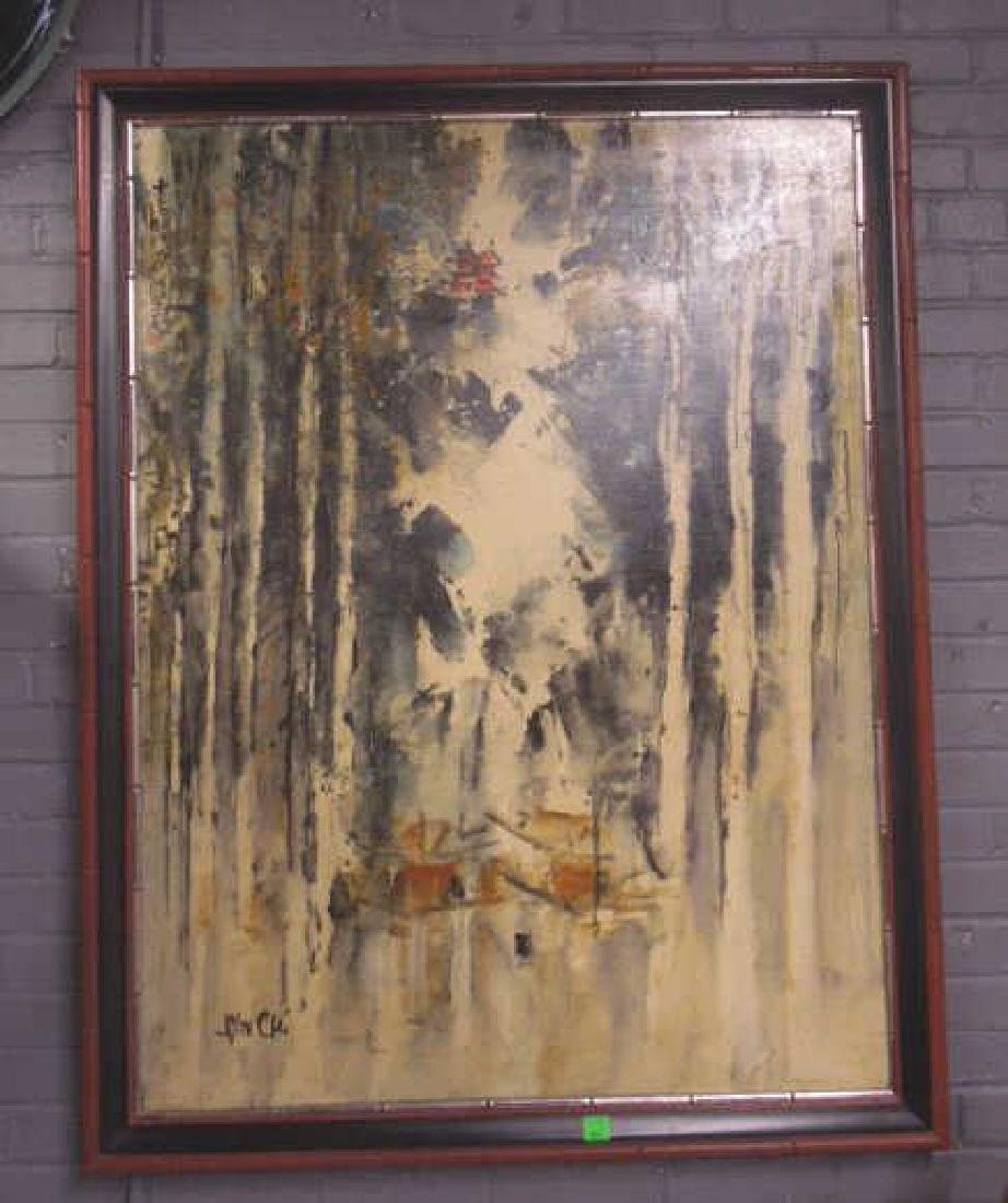 John Chi Signed Oil on Canvas