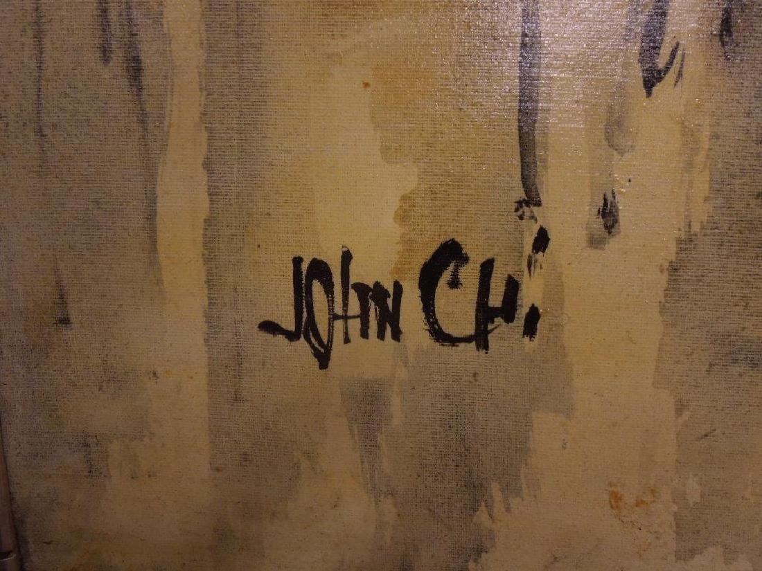 John Chi Signed Oil on Canvas - 2