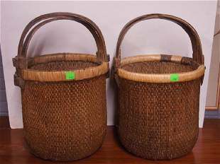 Chinese Woven Reed Water Baskets