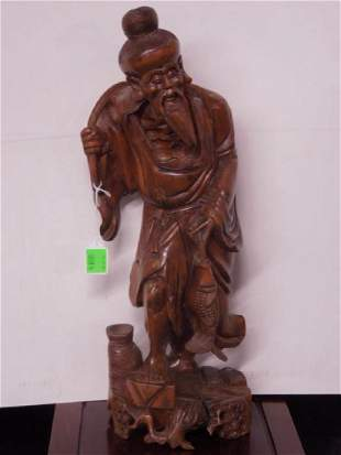 Chinese Wood Carved Fisherman