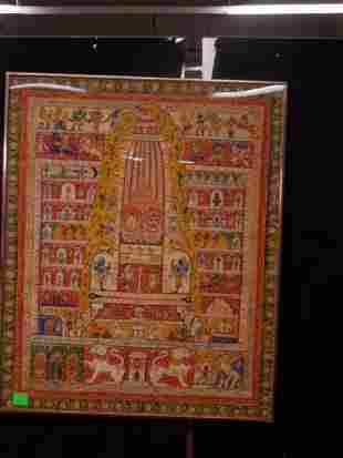 19th C. Indian Cloth Temple Hanging
