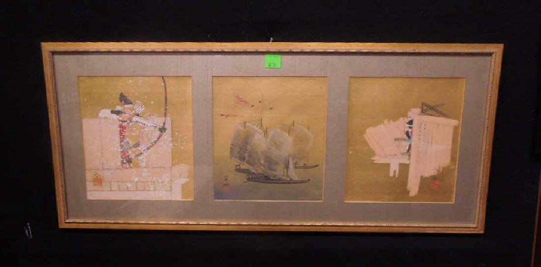 Japanese Paintings on Silk Triptych