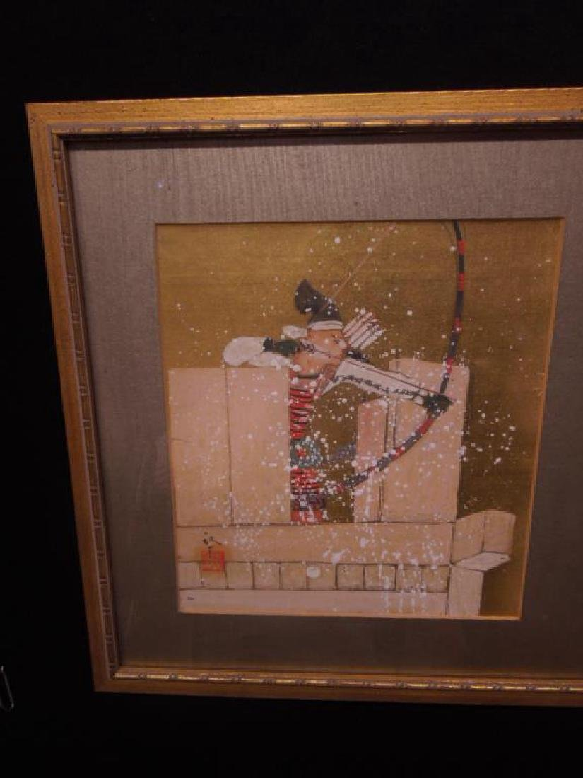Japanese Paintings on Silk Triptych - 2