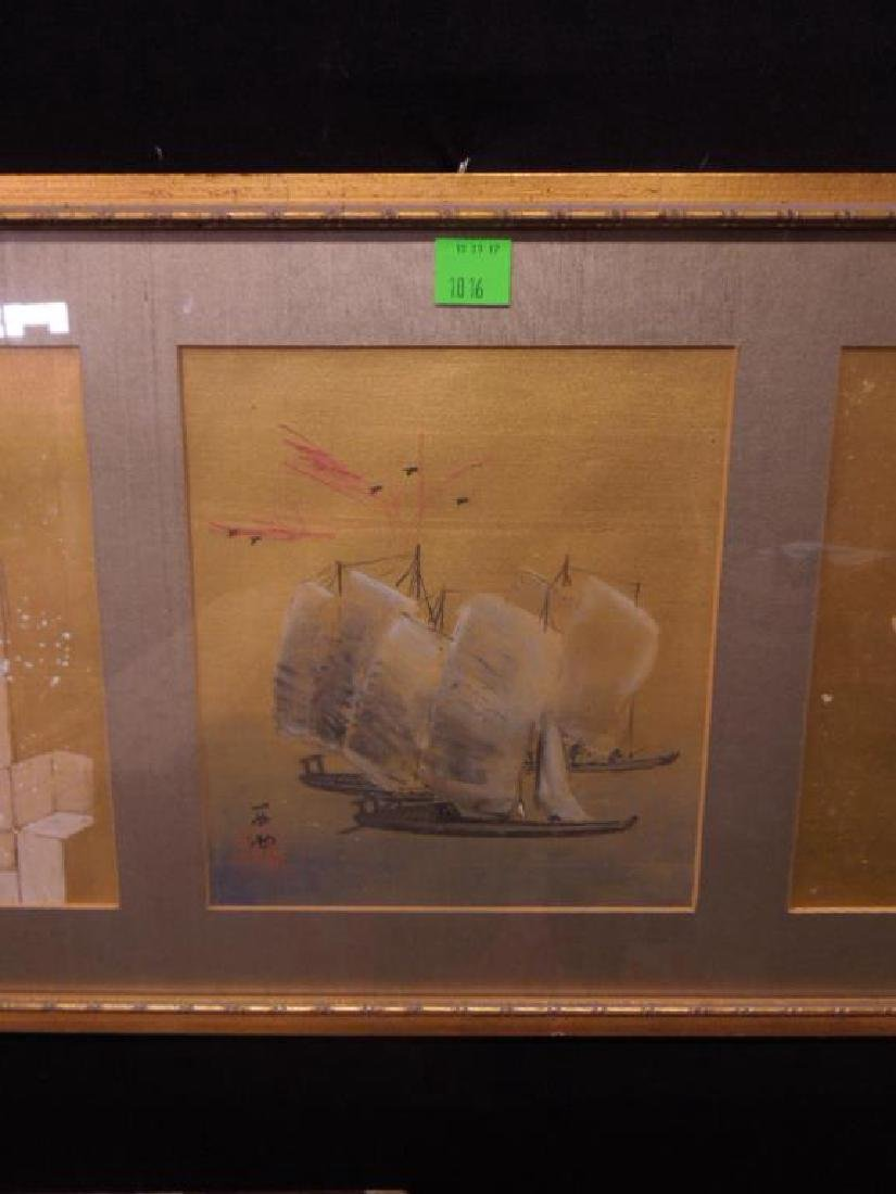 Japanese Paintings on Silk Triptych - 3