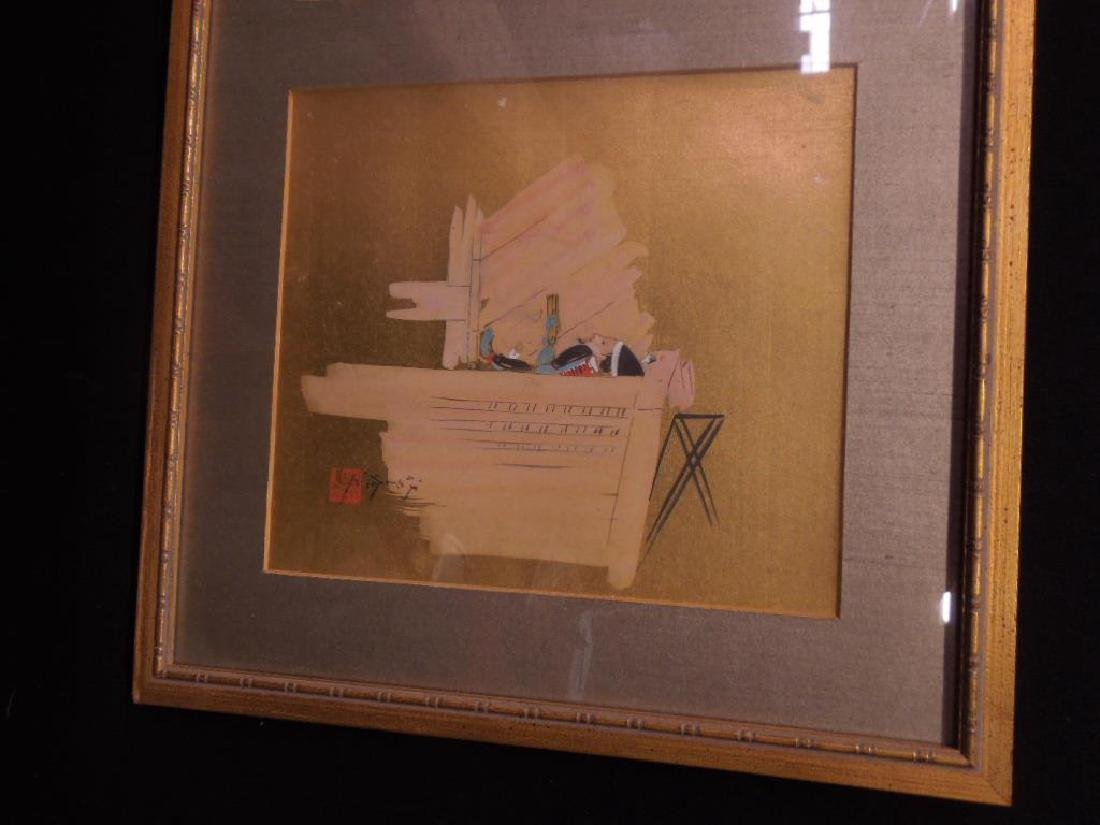 Japanese Paintings on Silk Triptych - 4