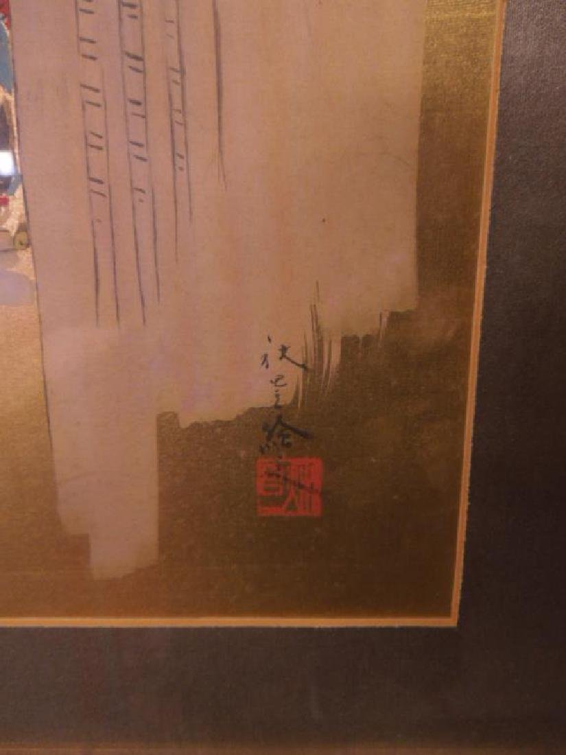 Japanese Paintings on Silk Triptych - 5