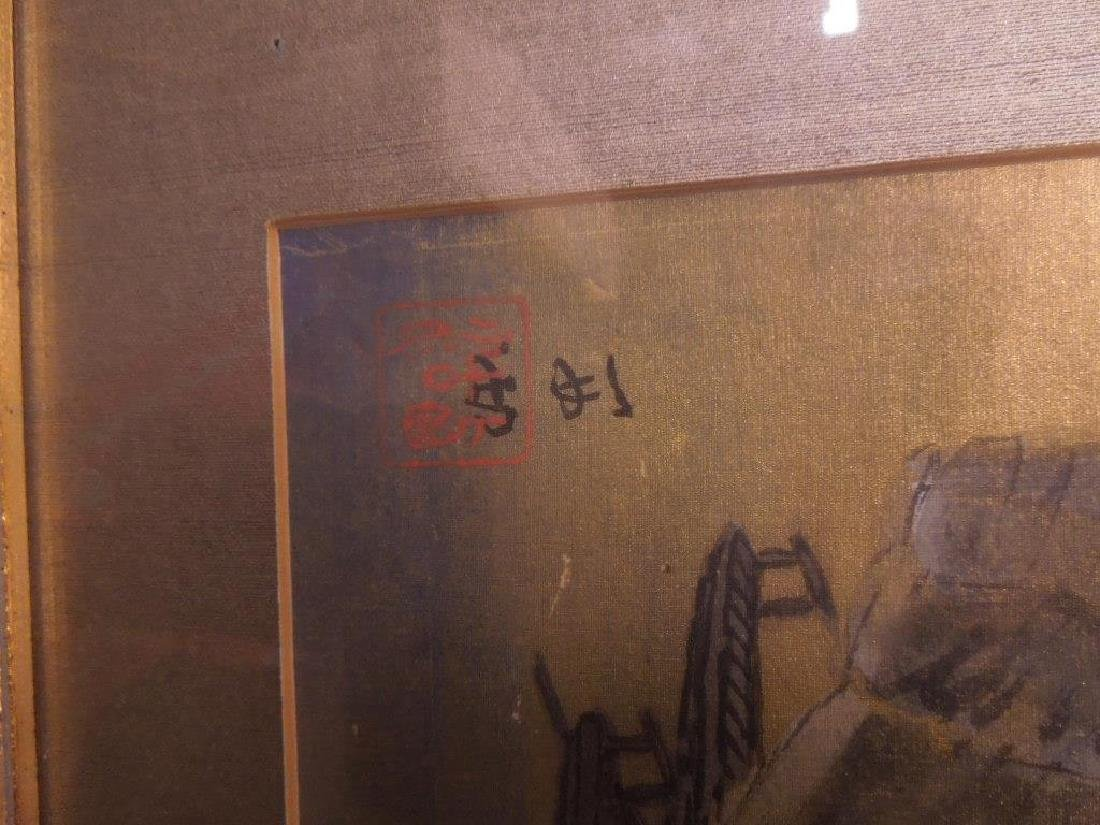 Japanese Paintings on Silk Triptych - 6