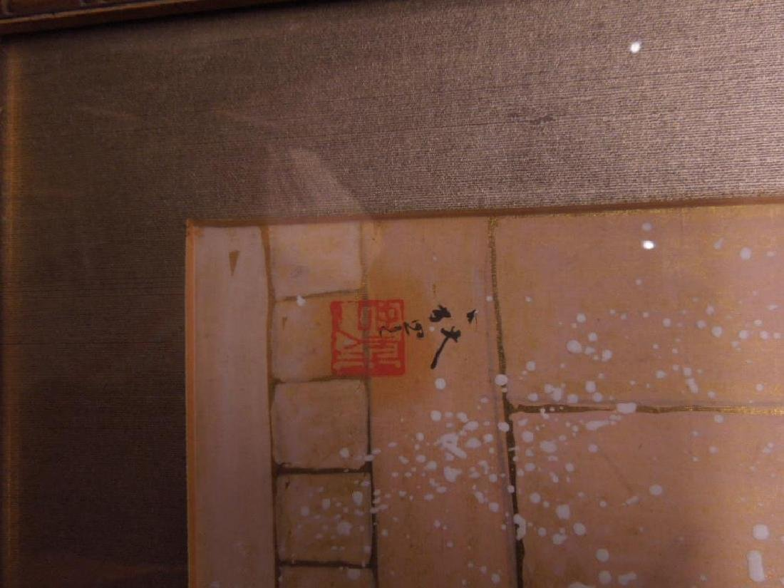 Japanese Paintings on Silk Triptych - 7