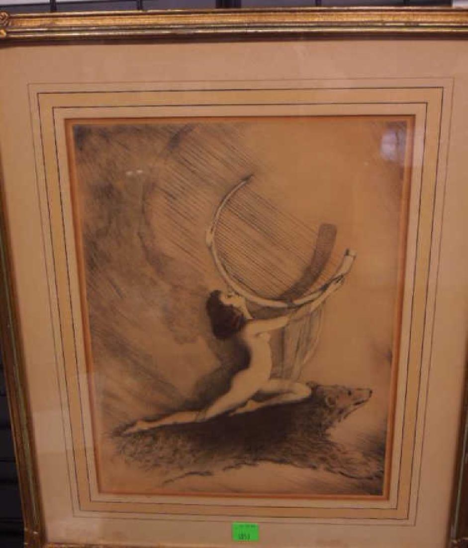 Art Deco Female Etching - 3